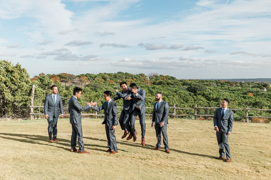 candid groom and groomsmen , dove ridge vineyard, dallas wedding photographer