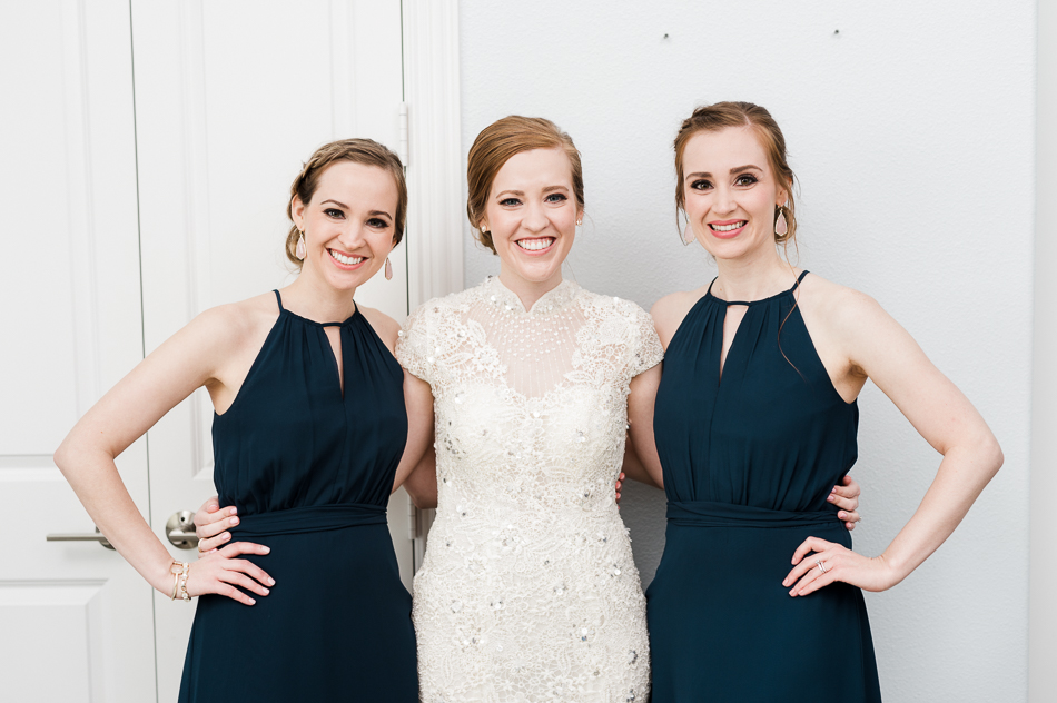 bride with sisters at dove ridge vineyard, dallas wedding photographer