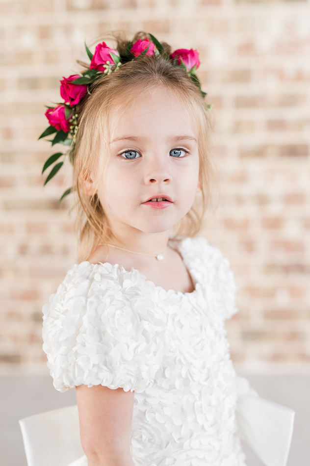 flower girl with floral crown, dove ridge vineyard, dallas wedding photographer